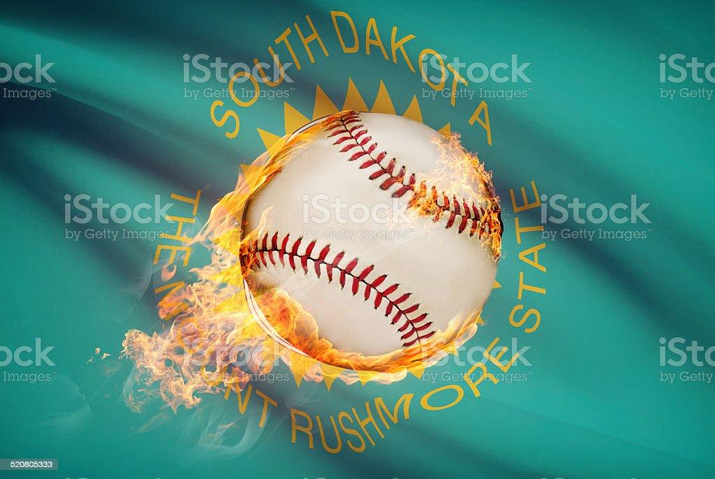 Baseball ball with flag on background series - South Dakota stock photo
