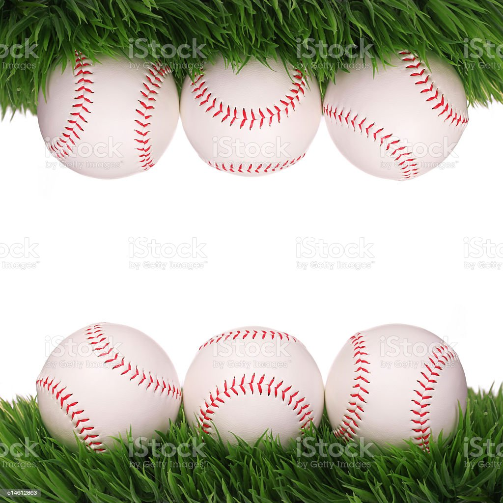 Baseball. Balls on Green Grass isolated stock photo