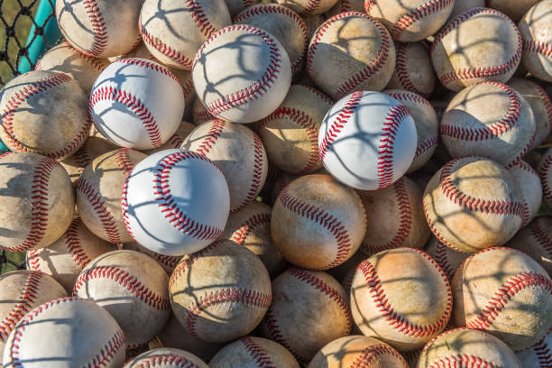 baseball balls - spring training stock photos and pictures