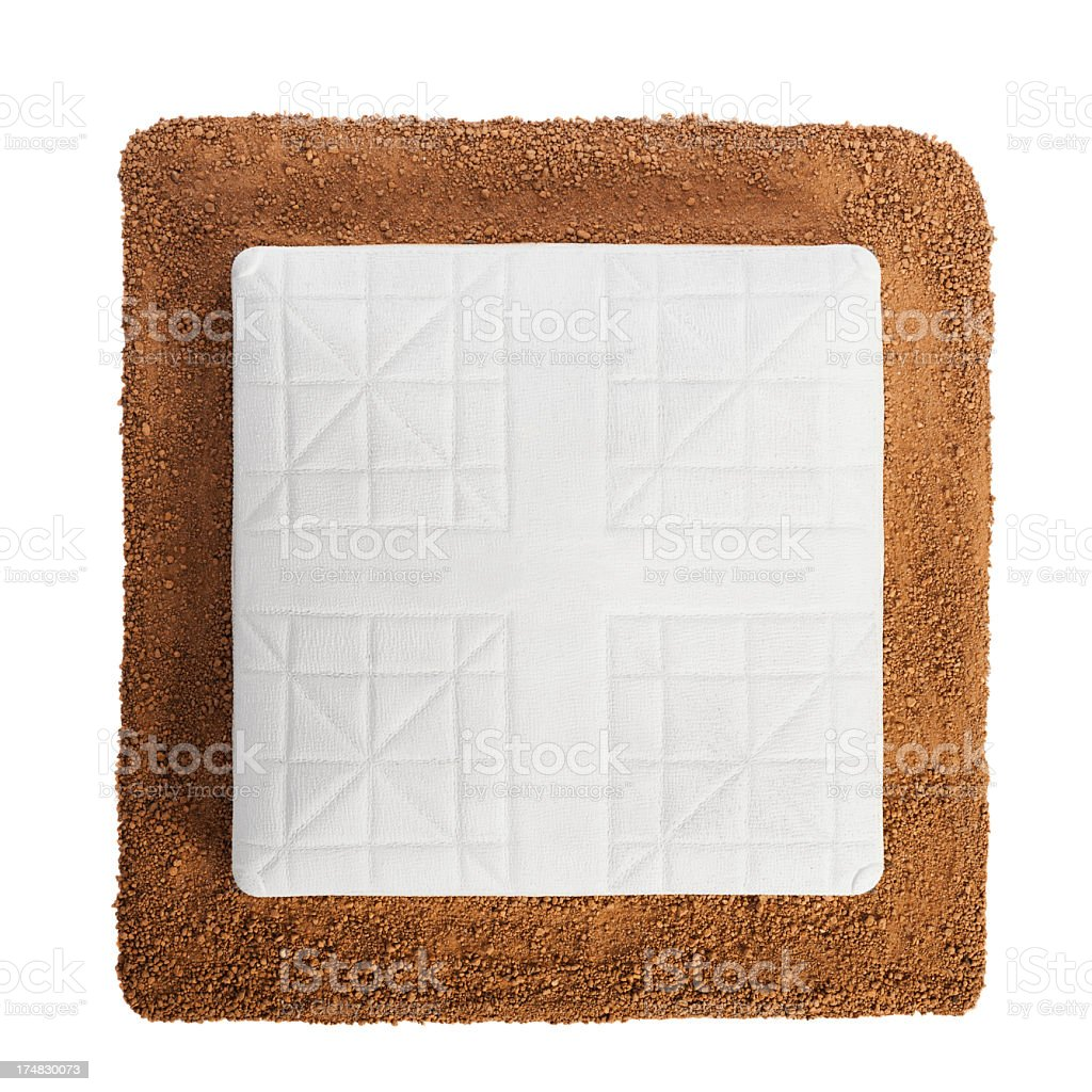 Baseball Base and dirt on white background stock photo