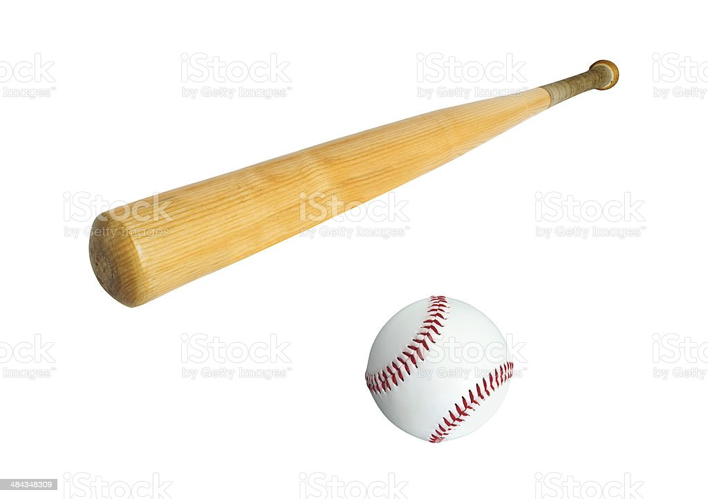 baseball bat and ball isolated on white royalty-free stock photo