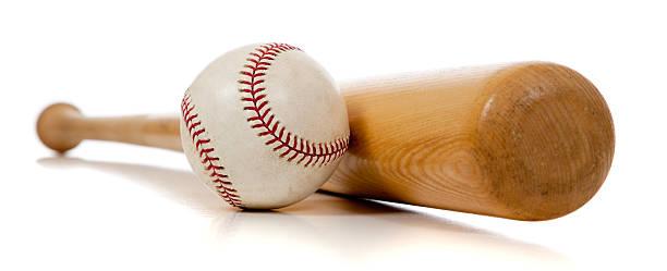 Batte de Baseball et ballon sur fond blanc - Photo
