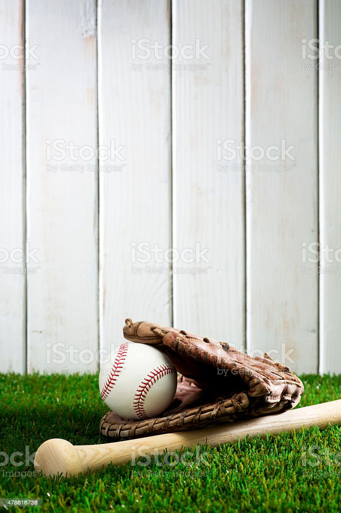 This is a photo of a baseball glove and ball and bat on the grass....