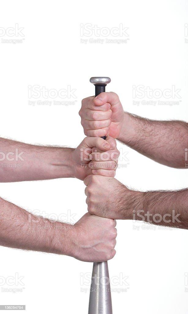 baseball bat and hands royalty-free stock photo