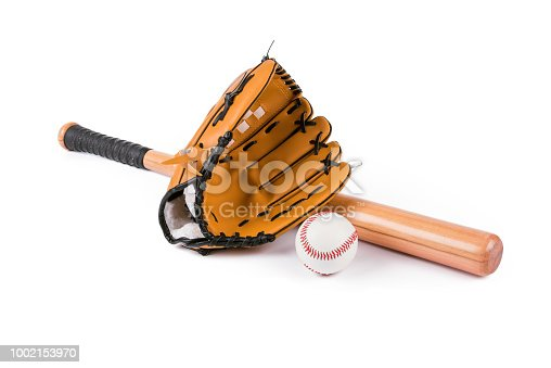 istock Baseball bat, ball and glove isolated over white 1002153970