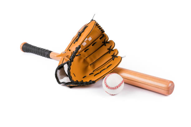 baseball bat, ball and glove isolated over white - baseball bat stock photos and pictures