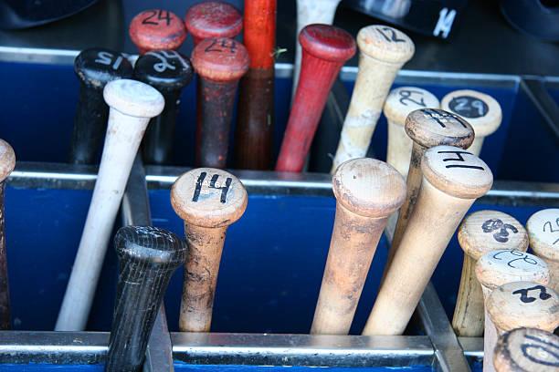 baseball bat bin - baseball bat stock photos and pictures