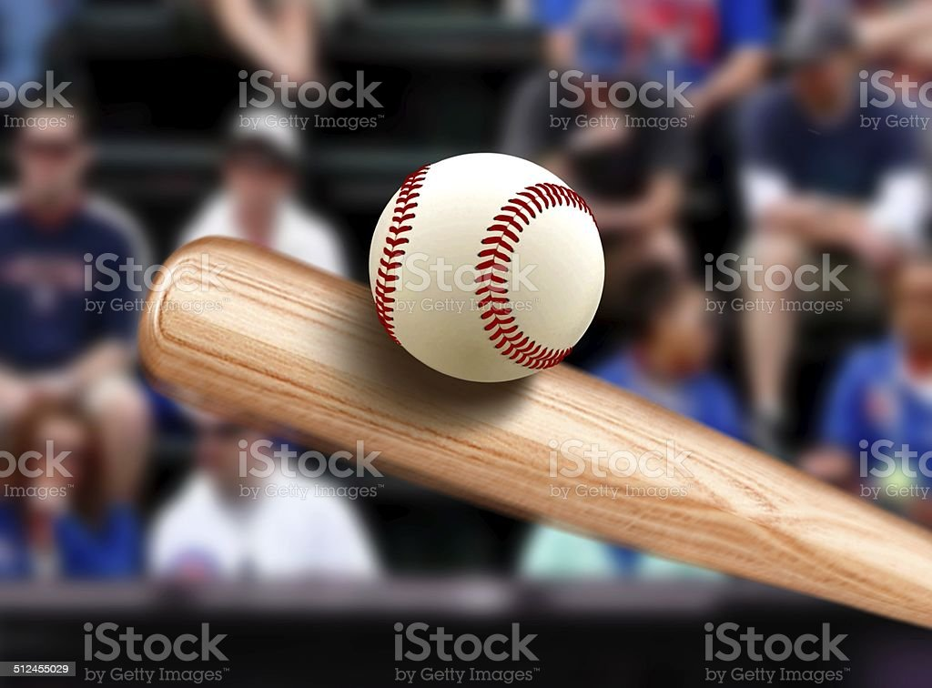 Baseball Bat Hitting Ball stock photo