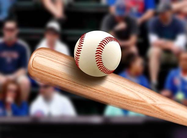 Baseball Bat Hitting Ball stock photo