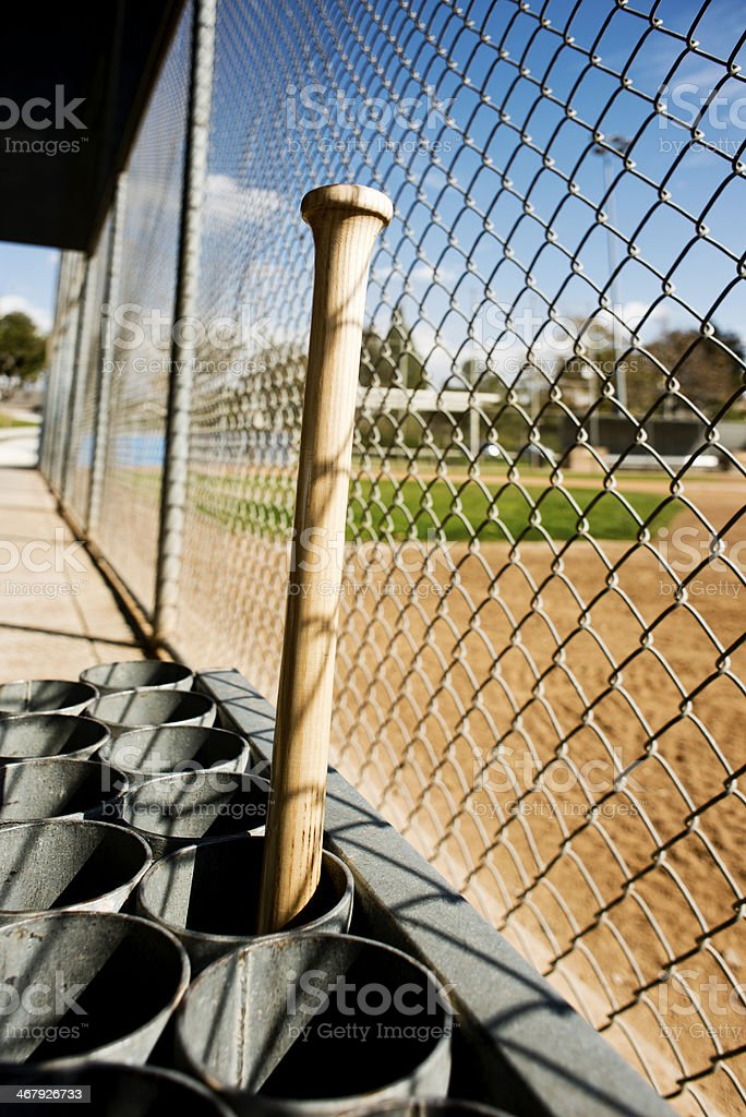 Baseball bat in dugout royalty-free stock photo