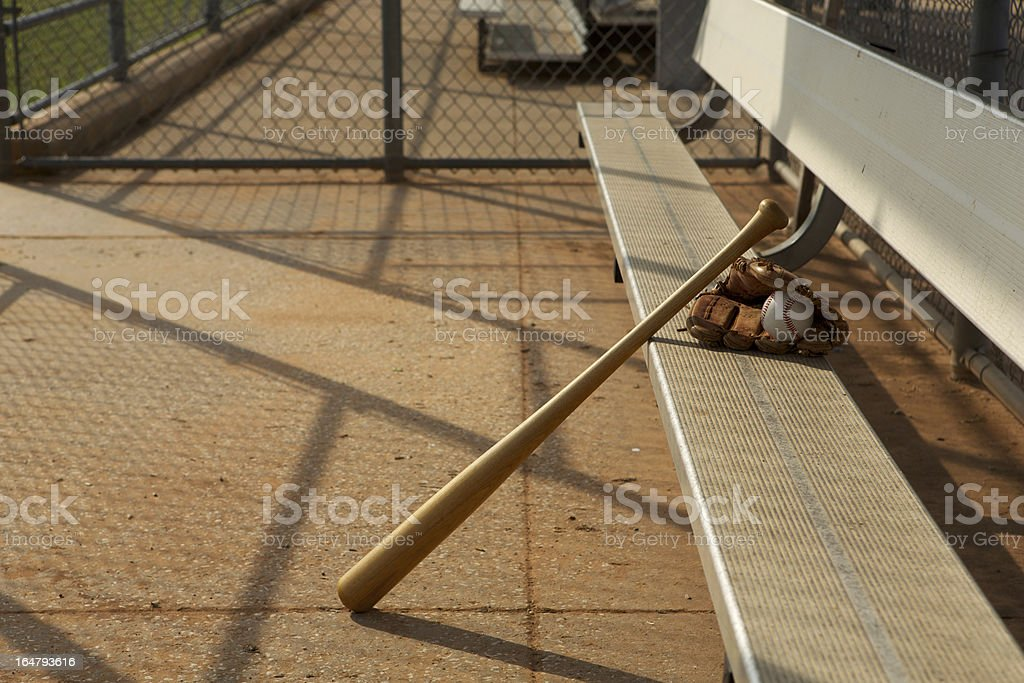 Baseball & Bat in the Dugout stock photo