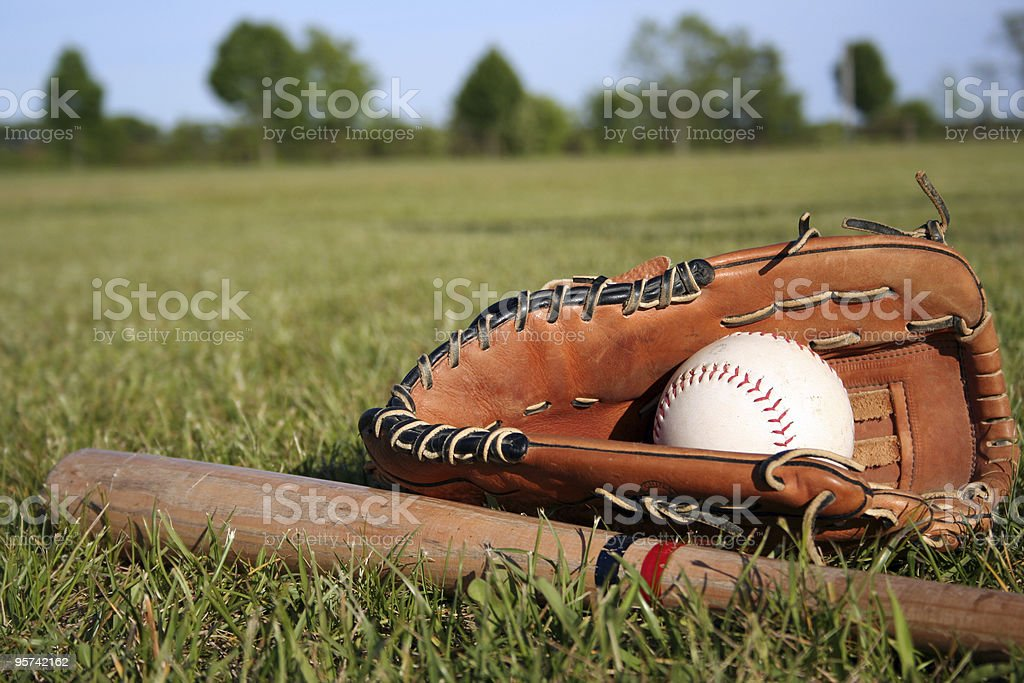 Baseball bat, mitt and glove lying in grass on a field stock photo