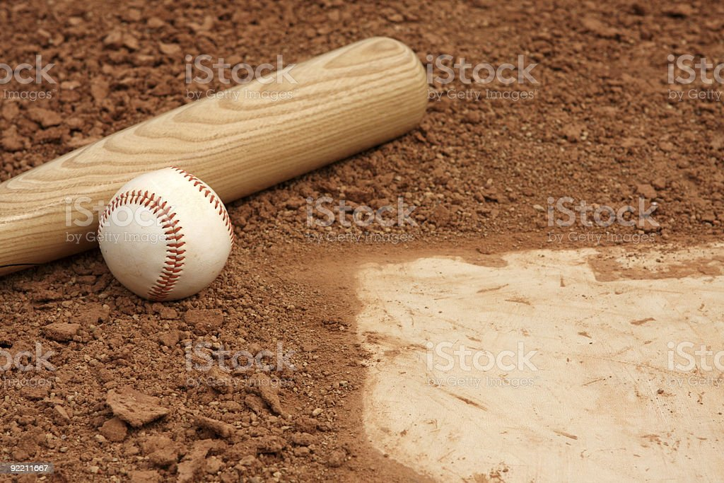 Baseball & Bat near Home Plate royalty-free stock photo