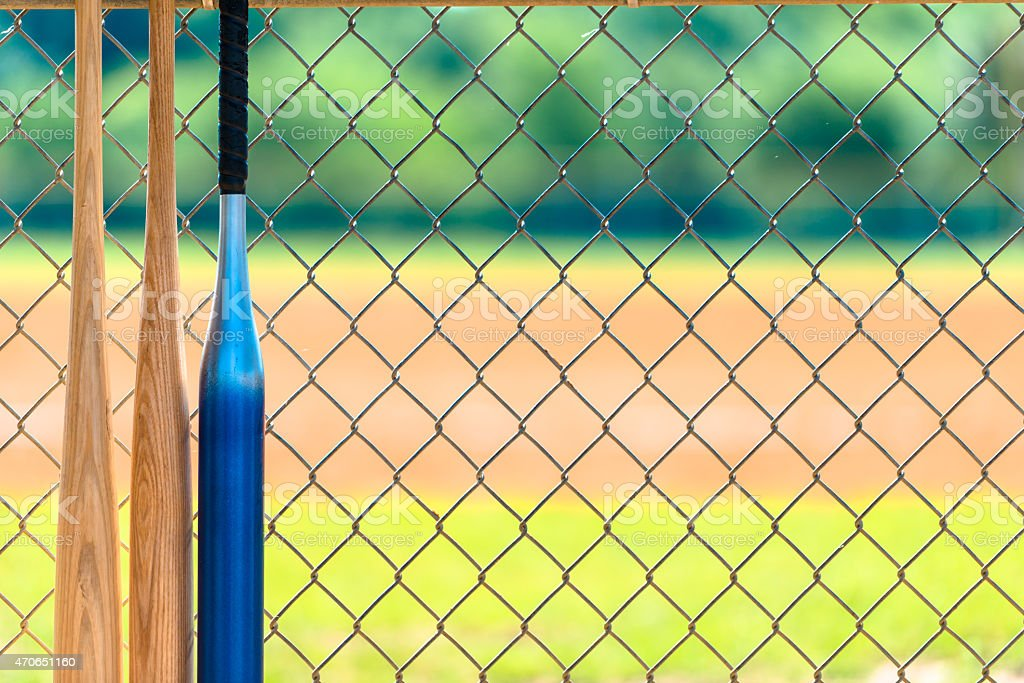 Baseball Bats in Dugout stock photo