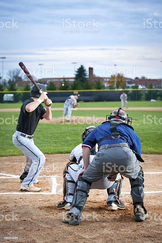 Baseball Batter In Mid Swing stock photo