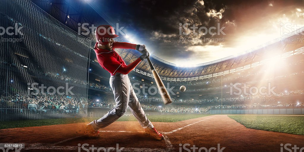Baseball batter on stadium stock photo