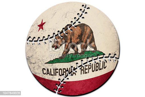 Baseball California state flag. California flag background Baseball
