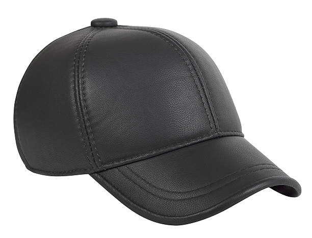 baseball cap made of artificial leather - helmet visor stock photos and pictures