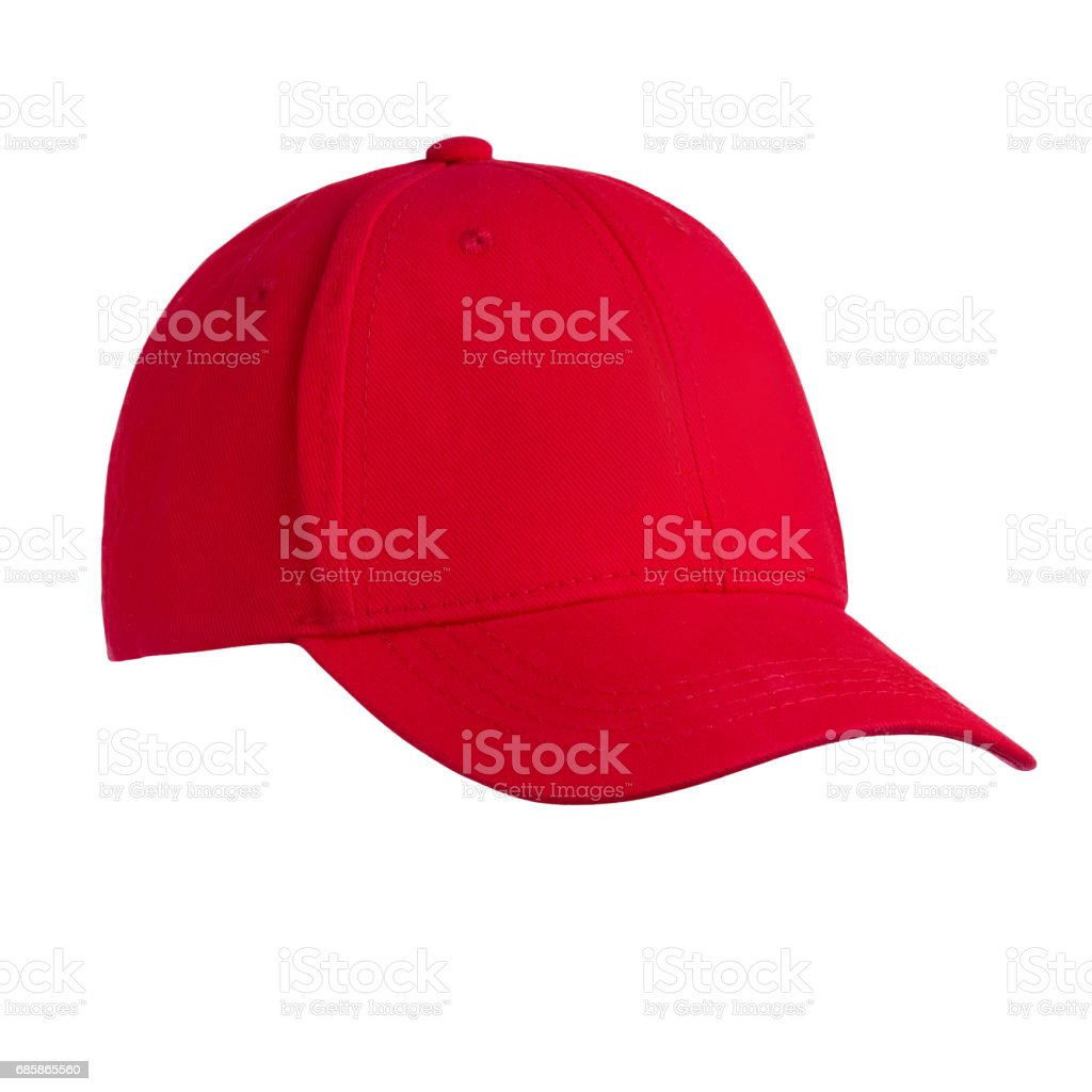 Baseball cap red, on white background stock photo