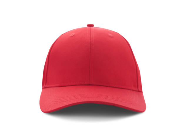 Baseball cap red templates, front views isolated on white background Baseball cap red templates, front views isolated on white background. Mock up. baseball cap stock pictures, royalty-free photos & images