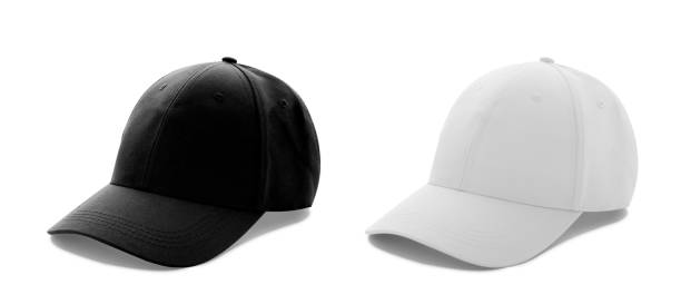 baseball cap white and black templates, front views isolated on white background - czapka zdjęcia i obrazy z banku zdjęć