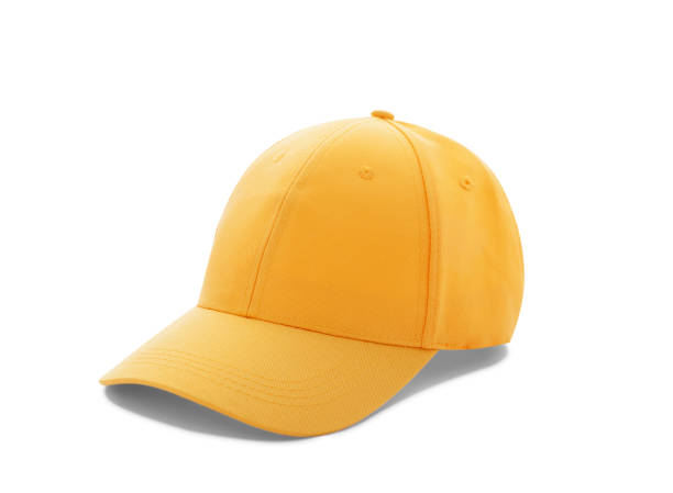 Baseball cap yellow templates, front views isolated on white background Baseball cap yellow templates, front views isolated on white background. Mock up. baseball cap stock pictures, royalty-free photos & images