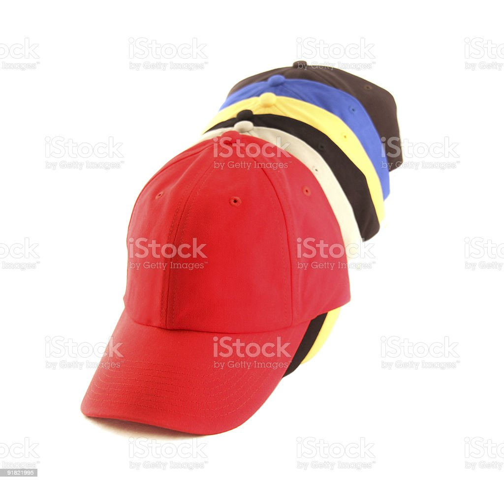 baseball caps assorted royalty-free stock photo