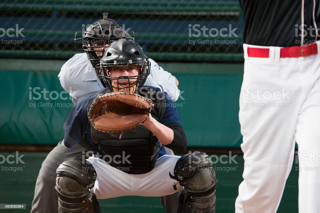 Baseball Catcher Anticipating Pitch stock photo
