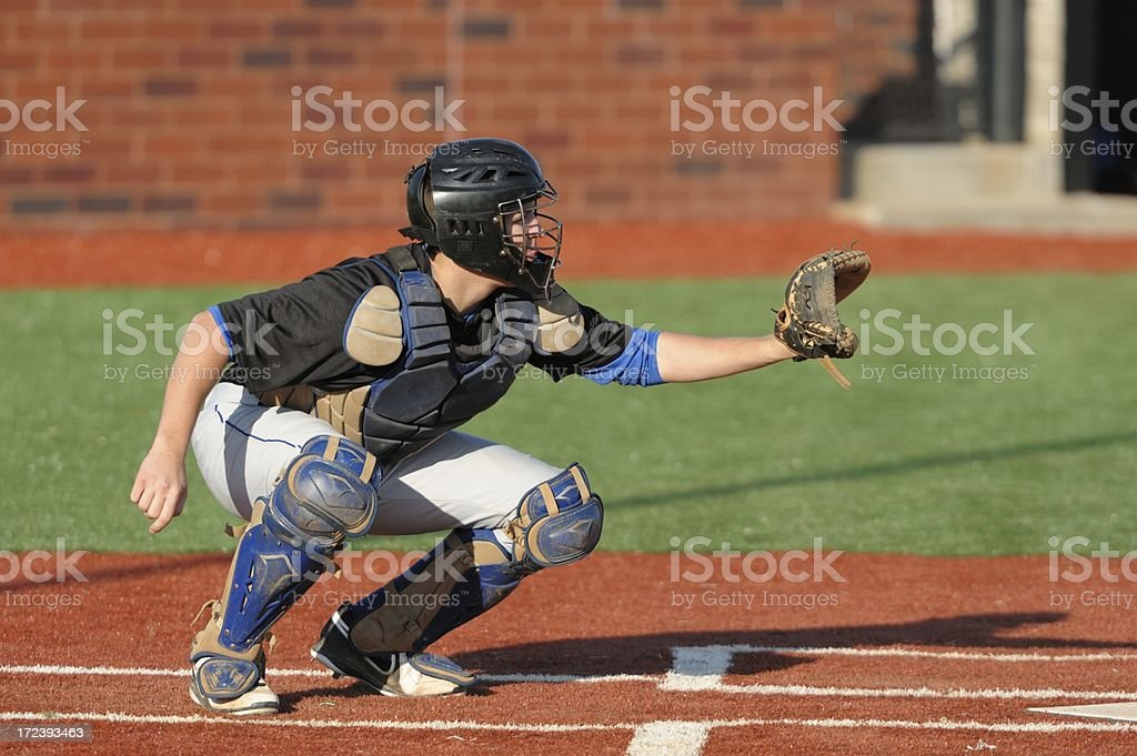 Baseball catcher at home plate stock photo