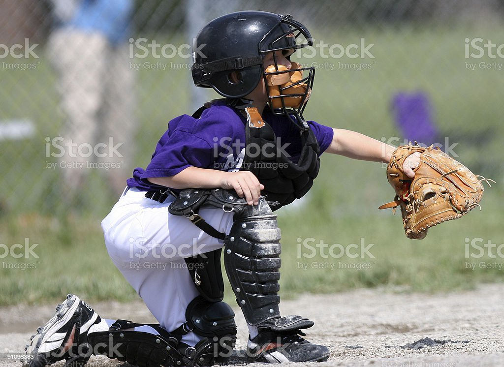Baseball Catcher catching ball stock photo