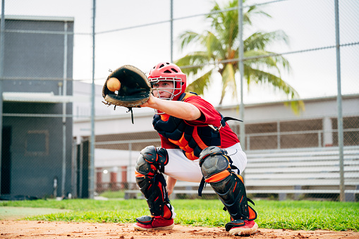 Low angle action portrait of baseball catcher wearing helmet, chest protector, and leg guards crouching with mitt poised to catch pitch.