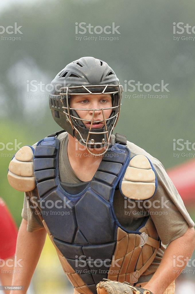 Baseball catcher going after ball stock photo