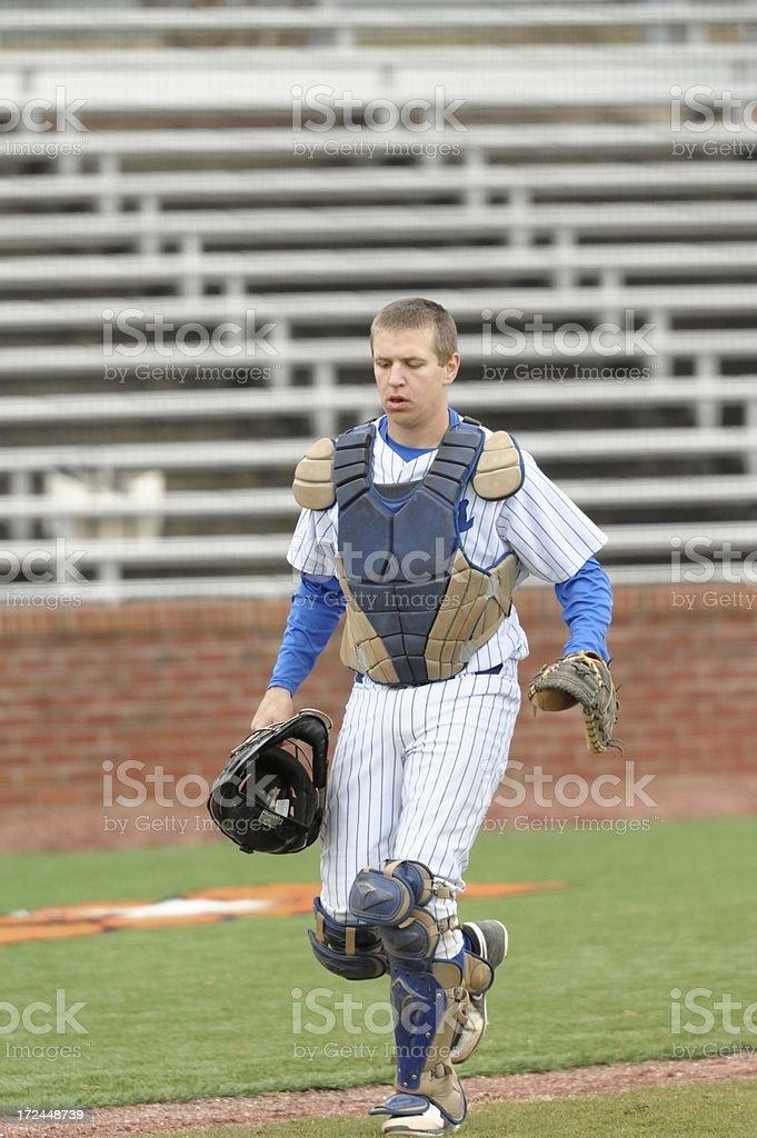 Baseball catcher in ballpark royalty-free stock photo
