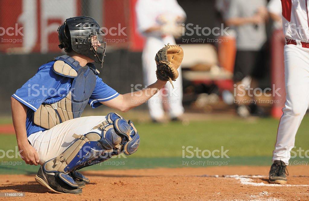 Baseball catcher in game stock photo