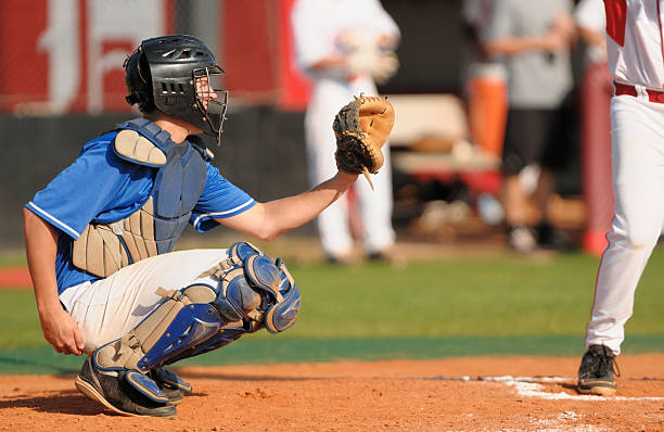 Baseball catcher in game stock photo