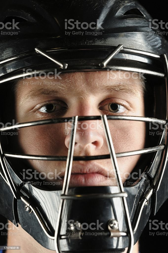 Baseball catcher in mask close up stock photo