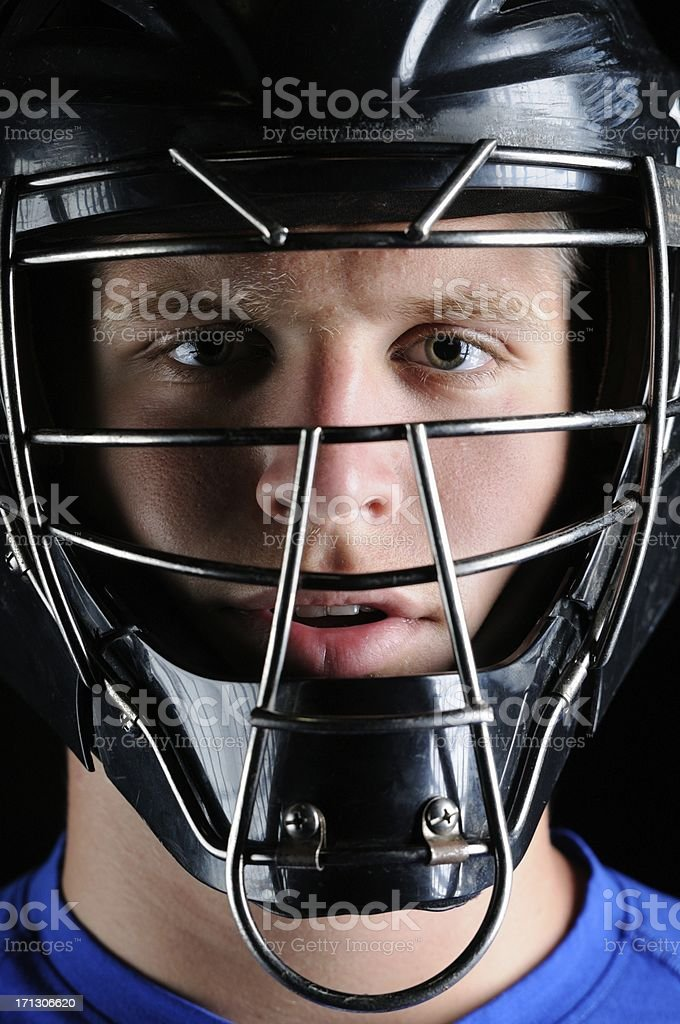 Baseball catcher in mask stock photo