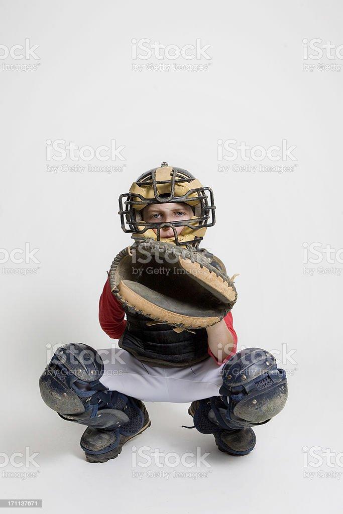 baseball catcher in studio stock photo