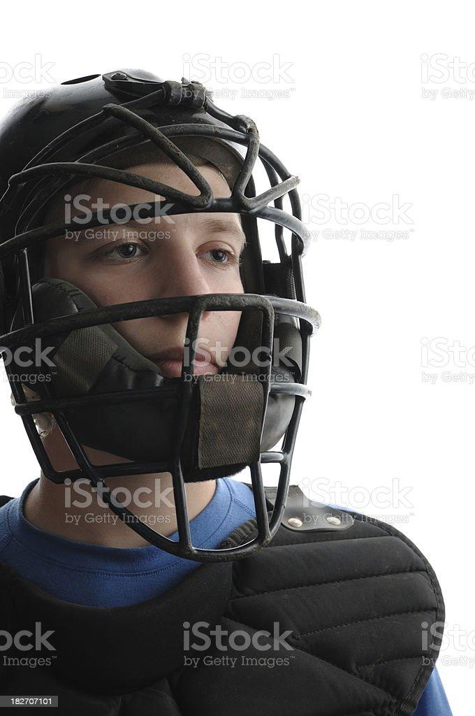 Baseball catcher isolated on white stock photo