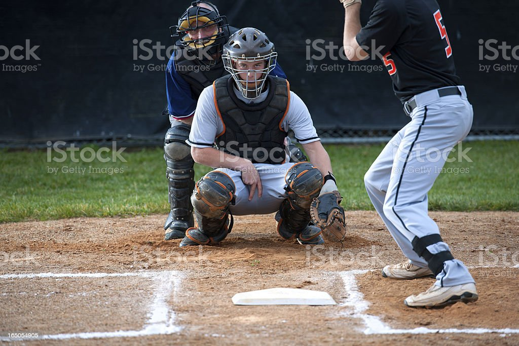 Baseball Catcher Makes the Pitch Call stock photo