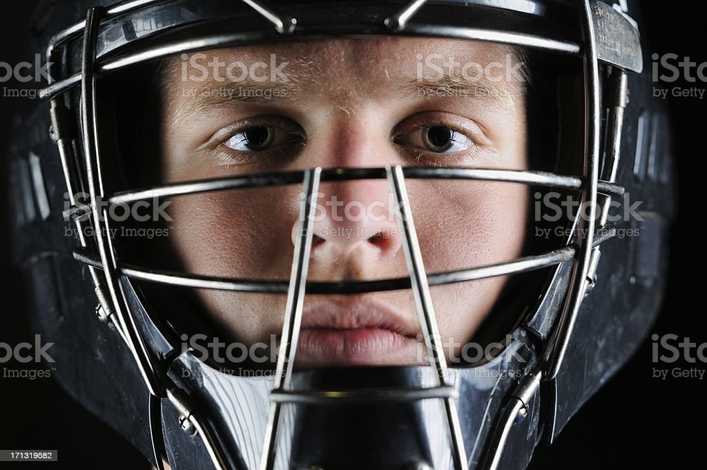Baseball catcher mask close up stock photo