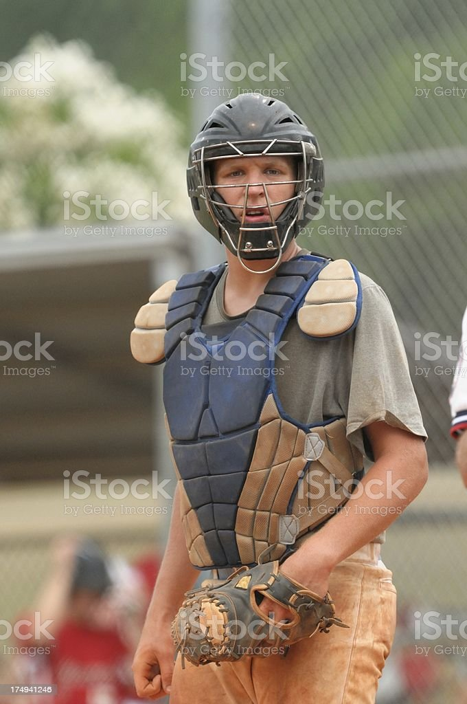 Baseball catcher on field stock photo