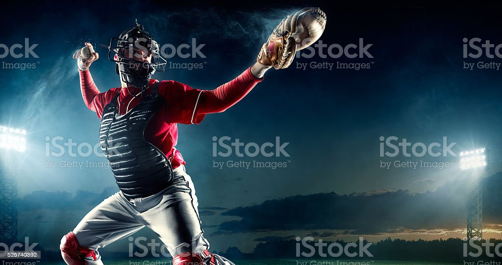 Baseball catcher on stadium stock photo