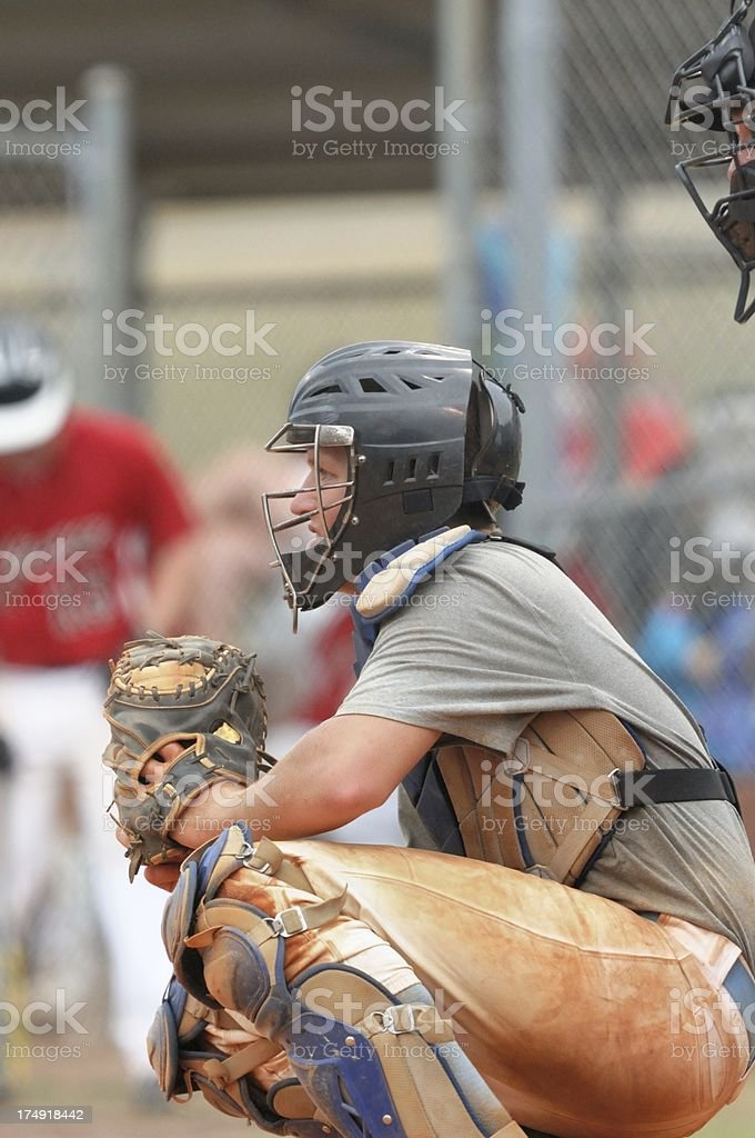 Baseball catcher profile stock photo