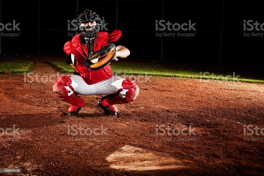 Baseball catcher ready for action stock photo