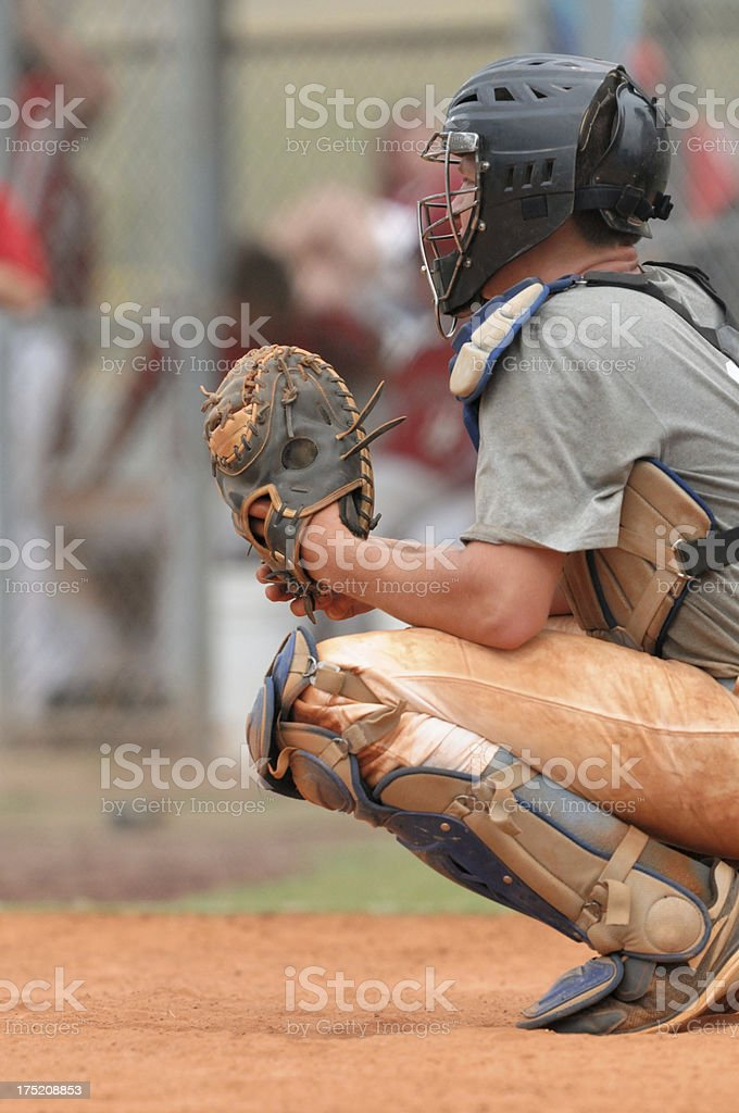 Baseball catcher ready for pitch royalty-free stock photo