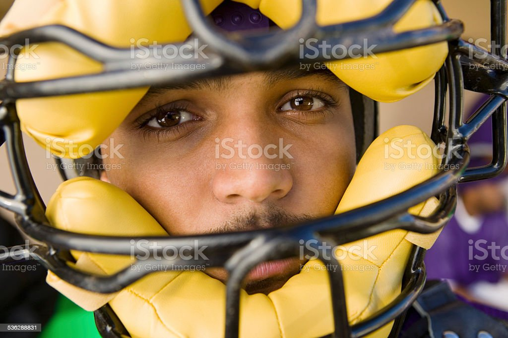 Baseball Catcher Wearing Mask During Game stock photo