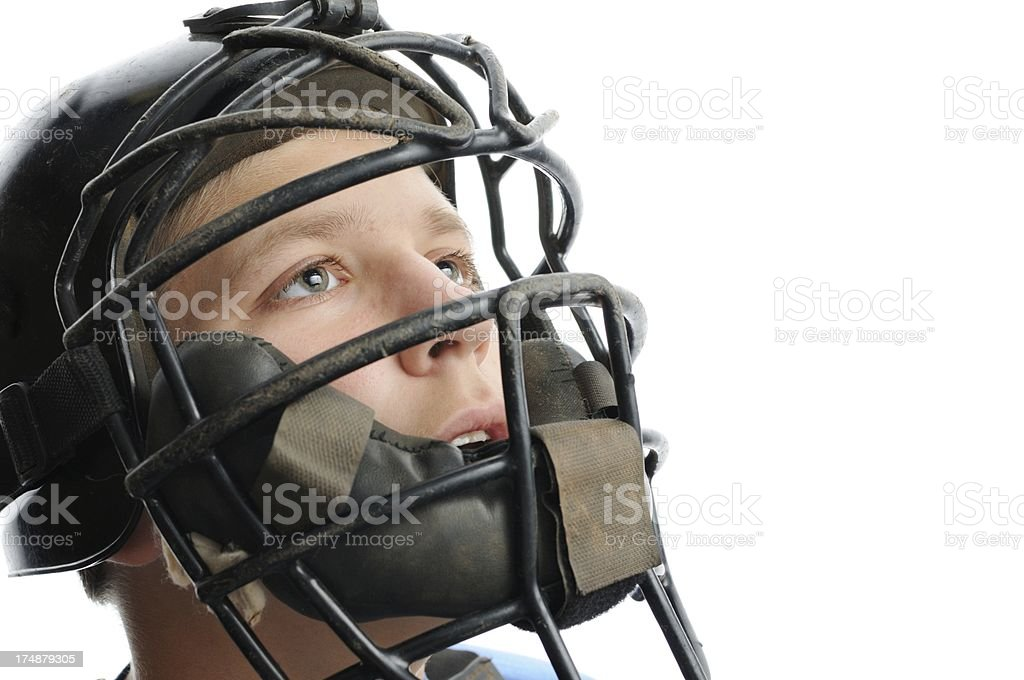Baseball catcher with mask close up stock photo
