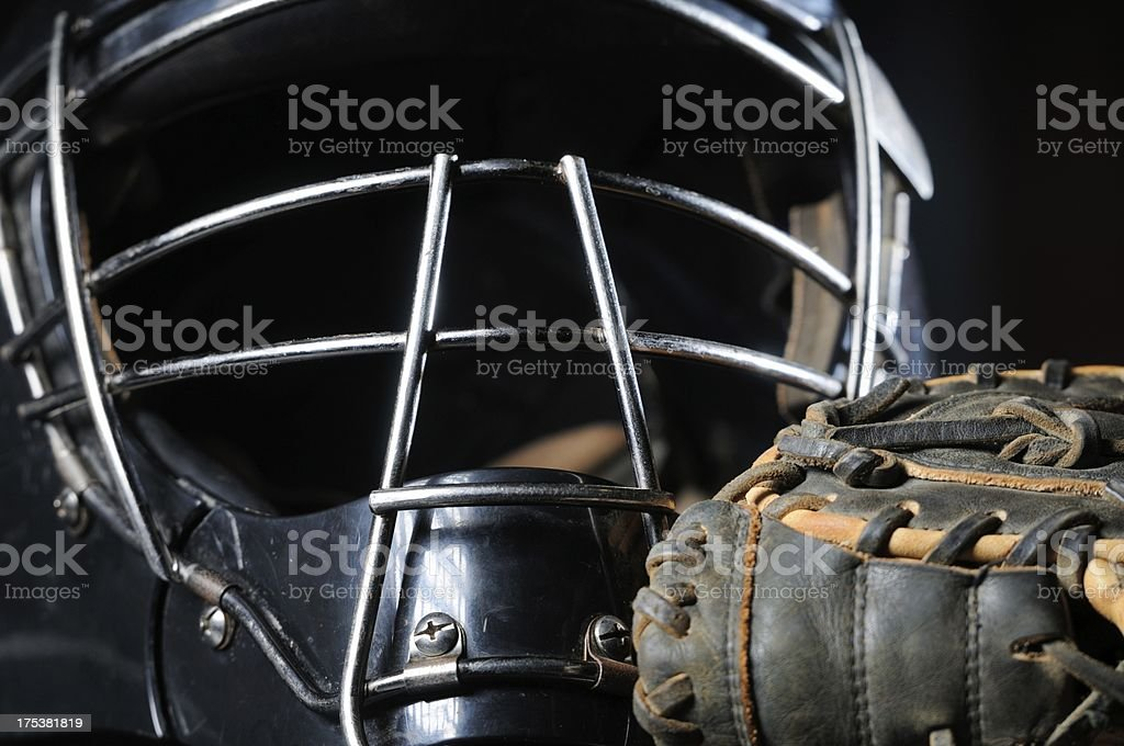 Baseball catchers mask and glove close up stock photo