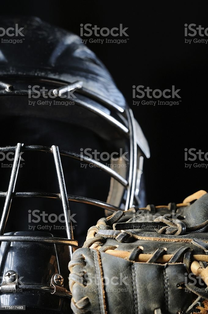Baseball catchers mask and glove stock photo